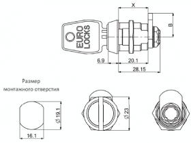 Замок с повышенной секретностью Euro Locks 0956 кулачковый 180°