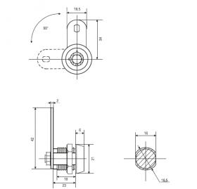 Тубулярный замок 23 мм 90° с трубчатым ключом 029 мастер