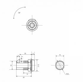 Замок торцевой защелка автомат 20 мм 90° с трубчатым ключом 029