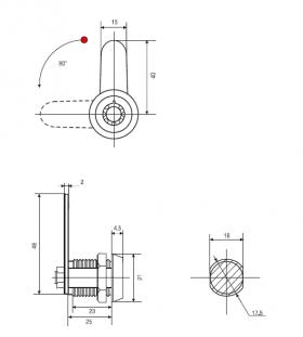 Тубулярный замок 25 мм 90° с трубчатым ключом 029