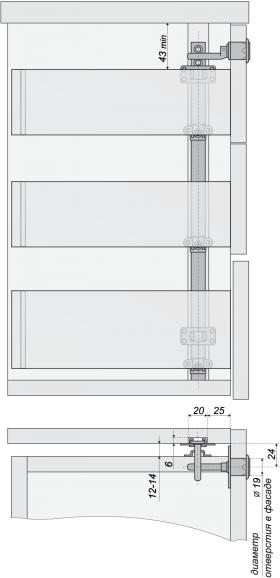 """Мебельный замок центральный на 3 ящика 19 мм штырьевой """"комплект"""""""