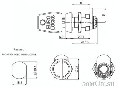 Замки Euro Locks Замок с повышенной секретностью Euro Locks 0956 кулачковый 180° (артикул 0956537/20672) цена в розницу 1013 ру замок.su (изображение №3)