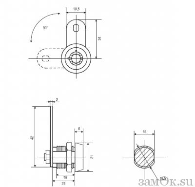 Почтовые замки Замок торцевой 23 мм 90° ключ трубчатый С (артикул 0127 С) цена в розницу 130 ру замок.su (изображение №2)