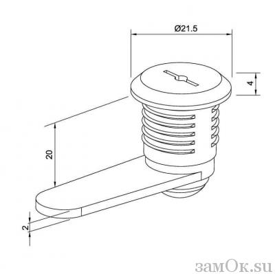Почтовые замки Замок мебельный 20 мм 90° (артикул 0011) цена в розницу 59 ру замок.su (изображение №3)