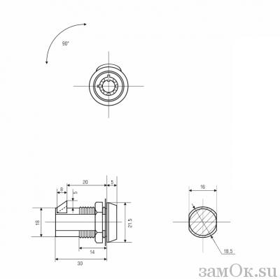 Почтовые замки Защелка автомат Замок торцевой, защелка автомат. 20 мм, ключ трубчатый (артикул 0137) цена в розницу 45 ру замок.su (изображение №2)