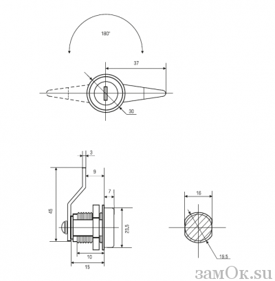 Почтовые замки Замок Авангард 180° (артикул 0101) цена в розницу 70 ру замок.su (изображение №2)