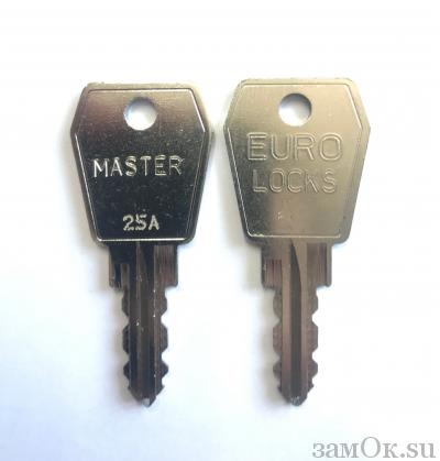 Замки Euro Locks Ключ мастер А, серия 25, 27 (артикул MAS\S25A/98) цена в розницу 1394 ру замок.su (изображение №1)