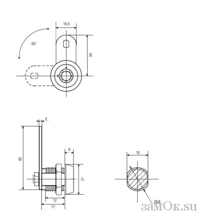 Почтовые замки Замок торцевой 17 мм 90° ключ трубчатый С (артикул 0123 С) цена в розницу 120 ру замок.su (изображение №2)
