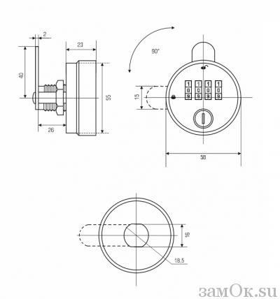 Кодовые замки Замок мебельный кодовый 099-26 WT (артикул 0290) цена в розницу 743 ру замок.su (изображение №3)