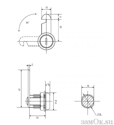 Почтовые замки Замок мебельный 20 мм 90° ригель с вырезом С (артикул 0013 C) цена в розницу 57 ру замок.su (изображение №2)