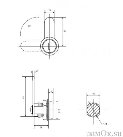 Почтовые замки Прямой ригель Замок мебельный 16 мм 90° (артикул 0001) цена в розницу 59 ру замок.su (изображение №2)