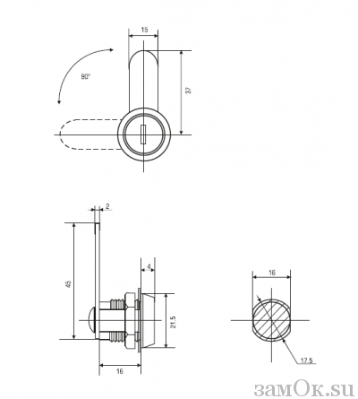 Почтовые замки Прямой ригель Замок мебельный 16 мм 90° (артикул 0001) цена в розницу 57 ру замок.su (изображение №2)