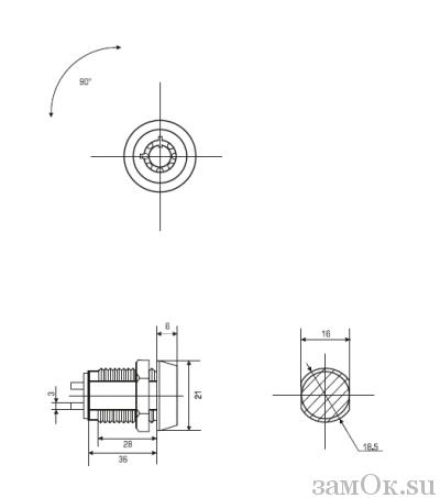 Почтовые замки Замок торцевой 23 мм 90° электроконтактный, ключ трубчатый (артикул 0134) цена в розницу 100 ру замок.su (изображение №6)