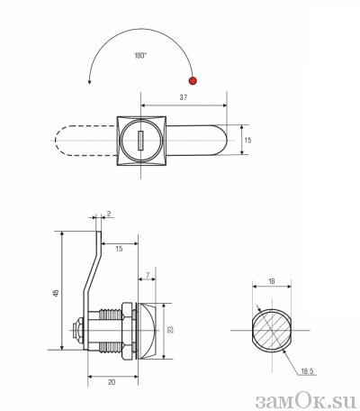 Почтовые замки Н/В Замок мебельный 0802 20/180° ригель изогнут на 5мм н/в (артикул 0065) цена в розницу 87 ру замок.su (изображение №2)