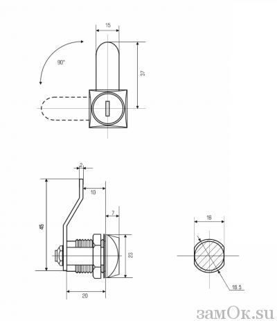 Почтовые замки 0802 Замок мебельный 0802 20/90° ригель изогнут на 10 мм (артикул 0056) цена в розницу 96 ру замок.su (изображение №2)