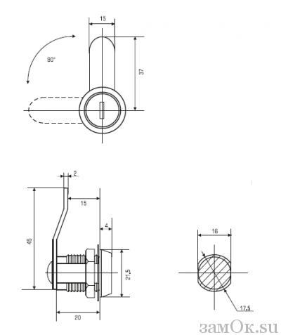 Почтовые замки Замок мебельный 20 мм 90° ригель изогнут на 5 мм (артикул 0016) цена в розницу 58 ру замок.su (изображение №2)