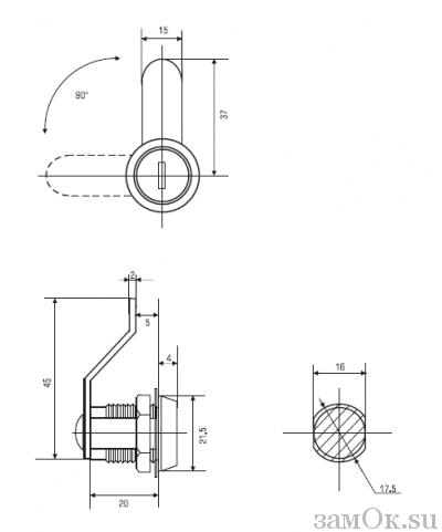 Почтовые замки Изогнутый ригель Замок 20 мм 90° ригель изогнут на 15 мм (артикул 0018) цена в розницу 57 ру замок.su (изображение №2)