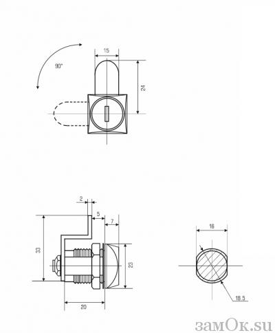 Почтовые замки Замок 0802 20/90° ригель изогнут на 15 мм (артикул 0058) цена в розницу 96 ру замок.su (изображение №4)